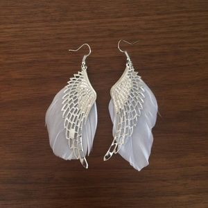 New white angel wing feather earrings
